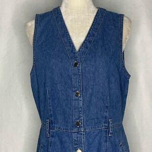 Vintage Gloria Vanderbilt Denim Dress M Button Front Modest Pockets Sleeveless