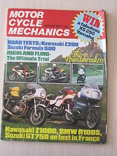Motorcycle Mechanics Magazine Aug 1977, BMW R1000S, Kawasaki Z1000, Suzuki GT750