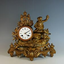 19th C French Gilt Metal Eight Day Mantel Clock just Serviced Hunt Theme