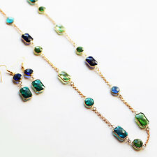 Green & Blue Faceted Crystal Long Rose Gold Necklace with Matching Earrings