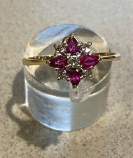 9ct yellow gold ~ Ruby & Diamond Cluster Ring ~ Size Q
