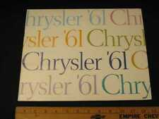 1961 Chrysler Prestige Car Sales Catalog Brochure