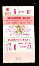 9/6/1978 Kansas City Royals @ Oakland A's Ticket Stub