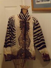 Painted Pony Zebra Coat Jacket w Wild Animals 100% Cotton Small Medium