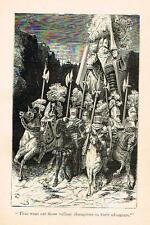 """Rabelais's' Satire - """"OUT WENT THE VALLIANT CHAMPIONS""""- Litho by G. Dore -1880"""