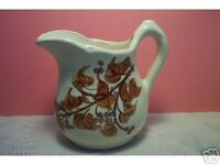 Vintage old Pottery Creamer Antique White and Brown berries leaves floral