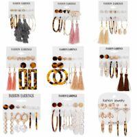 6 Pairs/set Boho Pearl Geometric Dangle Stud Earrings Elegant Women Jewelry Gift