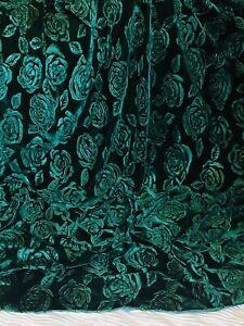"""3 X Meter Green Embossed Rose Print Velvet Dress Upholstery Fabric 58"""" Stretch"""