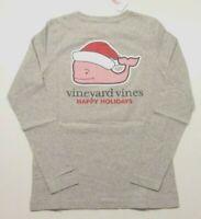 NWT Vineyard Vines Women's LS Pocket Tee Santa Hat Whale Gray Small MSRP $49.50