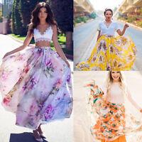 Summer BOHO Women Floral Jersey Gypsy Long Maxi Skirt Chiffon Beach Dress Sale!