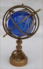 Armillary Sphere Miniature Brass Blown Glass Ball Paperweight Desk Hand Crafted