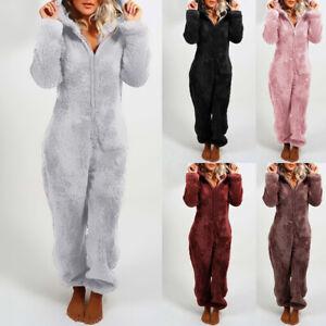 Women Luxury Fluffy Fur All In One Fleece Hooded Ladies Winter Warm Jumpsuit Pjs