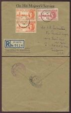 ST KITTS NEVIS 1946 VICTORY FRANKING OFFICIAL OHMS P.O ENV.REGISTERED to USA FDC