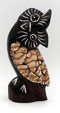 Holz Eule Eierschale Feng Shui Weisheit Kunsthandwerk Figur Skulptur 15 cm