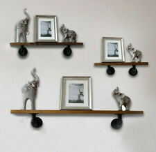 Industrial Pipe & Wood Shelf Wooden Shelving Unit Wall Mounted Shelves Display