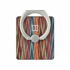 Cell Phone Ring-Metal Pop Up Rotation REAL Wood Backplate Multi-Colored Wood