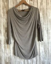 Isabella Oliver Maternity 3/4 Sleeve Drape Front Ruched Gray Top Shirt 4 *