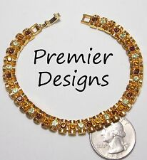 Signed PD PREMIER DESIGNS Tennis Bracelet, HORIZON, Topaz/Amber/Peridot Crystals
