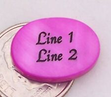 3 - PERSONALIZED Fuchsia Oval Mother of Pearl Shell Beads - Custom Engraved 18mm