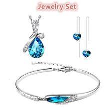 Fashion Women White Gold Plated Blue Crystal Pendant Bracelet Earrings Gift Set