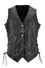 Ladies Biker Leather Waistcoat Laced Up Motorcycle Real Cow Leather Gilet Vest