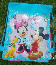 Disney Mickey Minnie Non-Woven Drawstring Bag Cute Backpack Kids Gift Sky Blue
