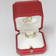 NYJEWEL Cartier 24k w Platinum Wedding Anniversary Band Ring Original Box