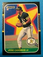 1987 Donruss # PC-12 JOSE CANSECO Box Bottom Oakland Athletics Baseball Card