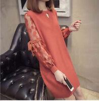 Women Autumn Winter Korean Fashion Trend Bud Silk Length Knitting Sweater Dress