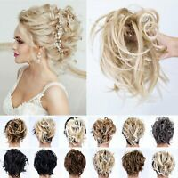 Natural As Human Messy Bun Hair Scrunchie Hair Extensions Hairpiece Clip in Updo