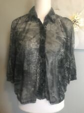 Bongo Womans Size Medium Snake Skin Design Cold Shoulder 3/4 Sleeve Buttonfront
