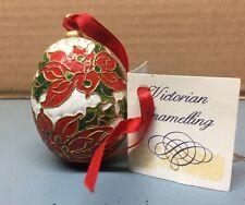 Vintage Cloisonne Christmas Tree Ornament Metal Enamel BIRDS EGG