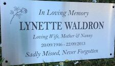 Memorial Grave Marker Engraved Stainless Steel Plaque, mounting holes 300x150mm