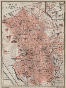TUNIS antique town city plan. Tunisia carte. BAEDEKER 1911 old map