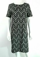 Wallis Black & Grey Geometric Pattern Dress UK 12 Short Sleeve