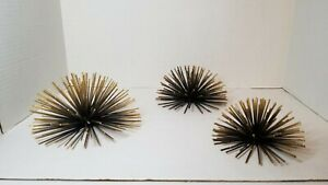 Metal Starburst/ Sea Urchin Atomic Era Wall Decor Set Of 3 Gold-Black Retro