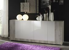Multi Door Italian Made Pine White And Pure White High Gloss Buffet Sideboard