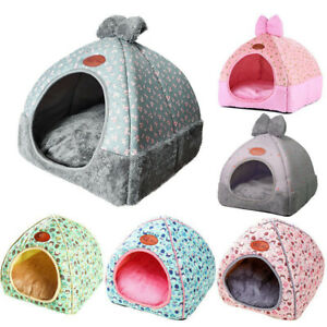 Pet Nest Puppy Cave Cat Dog Kennel House Sleeping Warm Cushion Mat Comfy Bed