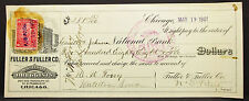 US Check Fuller Co. Druggist Chicago National Bank Paid Stamp USA Scheck (H-8121