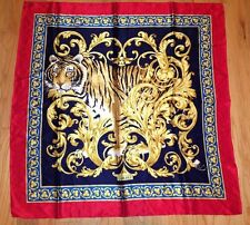 Red and Navy Carlisle Tiger Silk Scarf