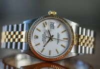 Authentic Rolex Mens Datejust 16013 Two-tone White Dial Fluted Bezel  36mm Watch
