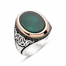 Handmade EMERALD Agate Stone 925 Silver Men's Ring With CZ