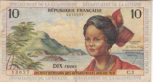 ANTILLES FRANCAISES : 10 FRANCS 1964 sign.1 - P.8a