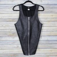 Stormy Leather San Francisco Leather Vest Full Zip Stretch Fabric Back Large