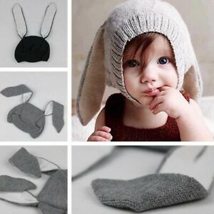 Cute Baby Toddler Kids Boy Girls Knitted Crochet Bunny Rabbit Ear Hat Cotton Cap