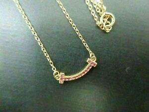 Auth Mint Tiffany & Co. Micro T Smile Necklace 750 Rose Gold Pink Sapphire 84765