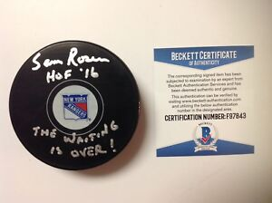 Sam Rosen Signed Autographed NY New York Rangers Hockey Puck Beckett BAS COA d