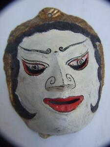 VINTAGE BALINESE  CAST BRONZE FACE MASK PAINTED -GILT ASIAN ART GIFT