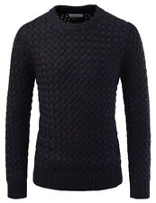 (NKKN820) TheLees Wool Blend Crewneck Pullover Casual Warm Knitted Sweaters