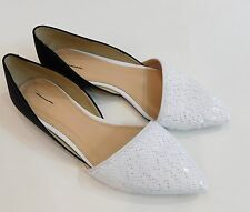 New J Crew $178 Sloan Sequin Colorblock D'orsay Flats shoes 8 black white E5045